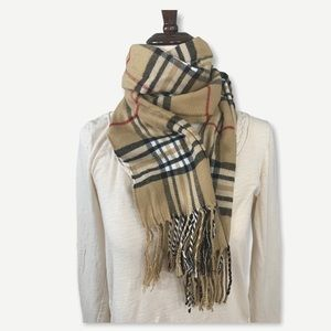 100% Cashmere Brown & Red Plaid Scarf CLASSIC
